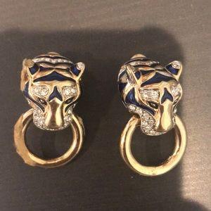 Tiger head clip on earrings